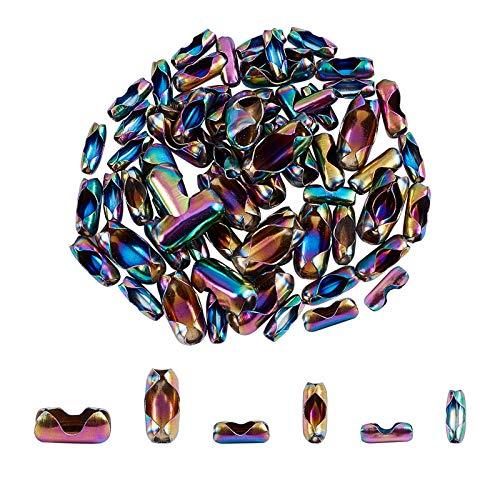 UNICRAFTALE 3 tamaños Alrededor de 60 uds Conectores de Cadena de Bola de Acero Inoxidable Multicolor Aptos para Conector de Extremo de Cadena con Cuentas de Cadena de Bola de 3/3 5/5 5mm