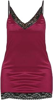 Smallrabbit Women s Satin Nightgown Lace Adjusted-Straps Full Slip Chemise  Mini Dress Silk Nightgown Sexy d6e6245e6