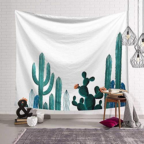 N / A Estilo Bohemio Tapiz Colgante de Pared Hoja Verde suculentas Cactus 3D Flor Arte decoración de la Pared Alfombra Manta Estera de Yoga Toalla de Playa Tapiz Tela de Fondo A14 73x95cm