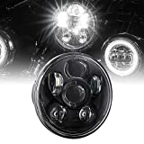 5.75' (5 3/4) Harley LED Headlight For Harley Davidson [Black-Finish] Round LED Motorcycle Headlight For Dyna Street Bob Super Wide Glide Low Rider Night Rod Train Softail Sportster