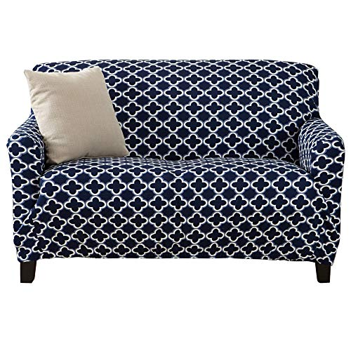 Printed Twill Love Seat Slipcover. One Piece Stretch Loveseat Cover.