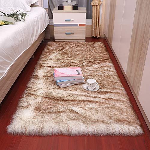 DOROCH Dormitorio Alfombra Suave Suave Mullido Piel de Piel de Piel alfombras nórdico Rojo Centro Sala de Estar Alfombra Dormitorio Piso Blanco imitación Piel de Noche Alfombra