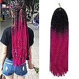 20'/50CM Faux Locs Crochet Braids Cheveux pour Tresse Africaine Cheveux Synthetique pour Tresse Extension pour Tresse - [1 pcs (100g)] Noir & Rouge Violet