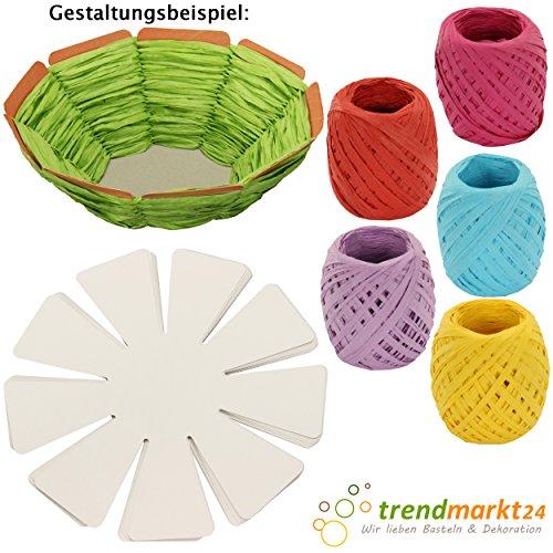 trendmarkt24 DIY Oster-Korb Kinder-Bastel-Set 10 Oster-Nester zum Flechten weiß Pappe/Papier 5X Papier-Kordeln bunt Kinder-Oster-Nest-chen/Körbchen zum befüllen selber 2024518
