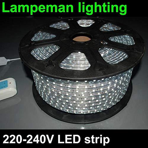 LMIAOM 220V llevó la luz de tira de 230V 240V SMD 5050 + clavija de alimentación, 60leds / m 5m 6m 7m 8m 9m 10m 11m 12m 13m 14m 16m...
