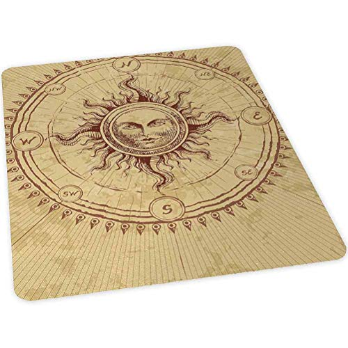 """Office Chair Mat for Hardwood and Tile Floor, Roman Sculpture Style Face in Circle like Radiating Sun An, 30"""" x 47"""" Anti-Slip, Non-Curve, Under the Desk Mat Best for Rolling Chair and Computer Desk, P"""