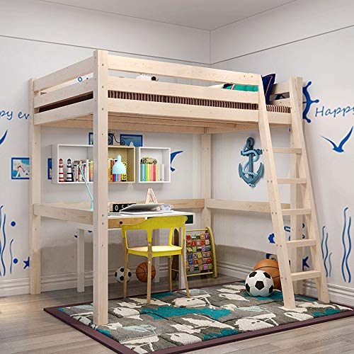 INMOZATA 3ft High Sleeper Cabin Bed Loft Bunk Bed Sturdy Solid Pine Kids Bed Wood Bed Frame with Ladder Single Bed