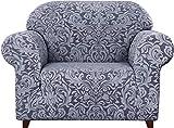 subrtex Damast Sofabezug Stretch Couchbezug Sesselbezug Elastischer Blumenmuster Antirutsch Sofahusse (1 Sitzer, Grau Muster-1)
