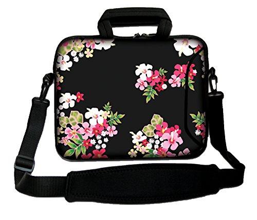 Luxburg schoudertas, 17 inch, zacht, voor notebooks, met greep, design: bloemen op zwarte achtergrond