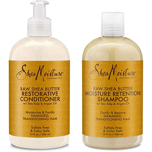 Shea Moisture Raw Shea Butter Restorative Shampoo 13oz and Conditioner Bundle 13oz