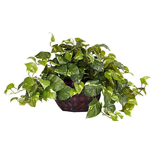 Nearly Natural 6681 15in. Pothos with Decorative Vase Silk Plant,Green