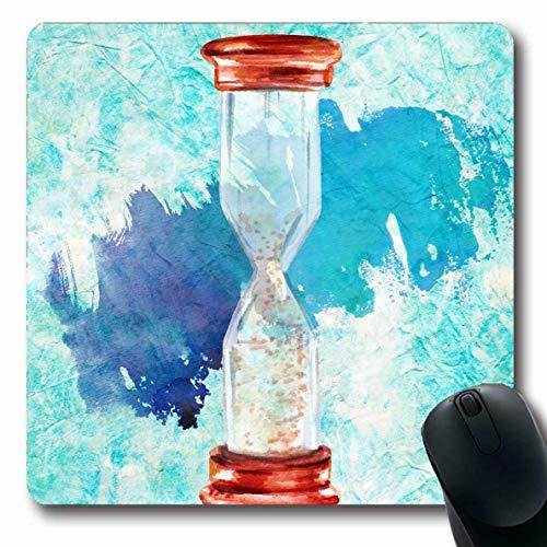 Jamron Mousepad OblongTeal Clock Aquarellzeichnung Vintage Sanduhr Blau Sandfarbe Antik Finanzen Farbe Farbe Kopie Rutschfeste Gummi Mauspad B眉ro Computer Laptop Spiele Mat