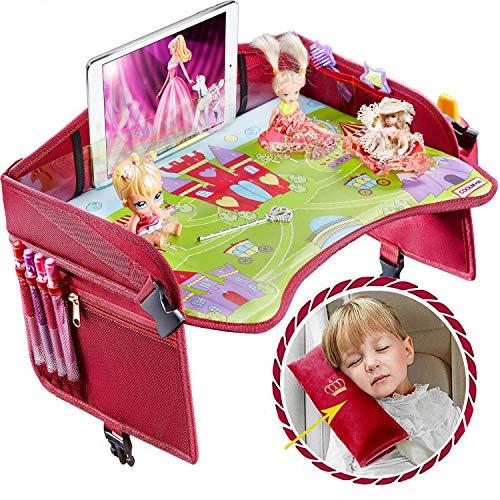 Premium BlackTravel Tablett – ideal als Reisetablett für Kinder – Kleinkind Reisetablett & Kinderwagen – Reisetablett & Spieltablett – Baby Snacktablett (Premium schwarz)