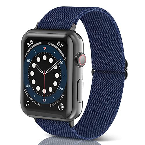 Correas Trenzada Elástica Ajustable para Apple Watch Serie 6/SE/5/4/3/2/1, Correas para Correa Apple Watch 38-44mm, Smartwatch Correa Reloj, Pulseras de Repuesto de Nylon, Mujer y Hombre (Navy Blue)