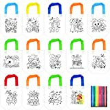 14Pack Coloring Goodie Bags, Kids DIY Graffiti Bags, Kindergarten Children Art Craft Project, Party Favor Bags for Birthday, Tea Party, Celebration