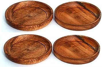 Kaizen Casa Juego de posavasos redondos artesanales de 4 perfectos para mesa, cocina, restaurante