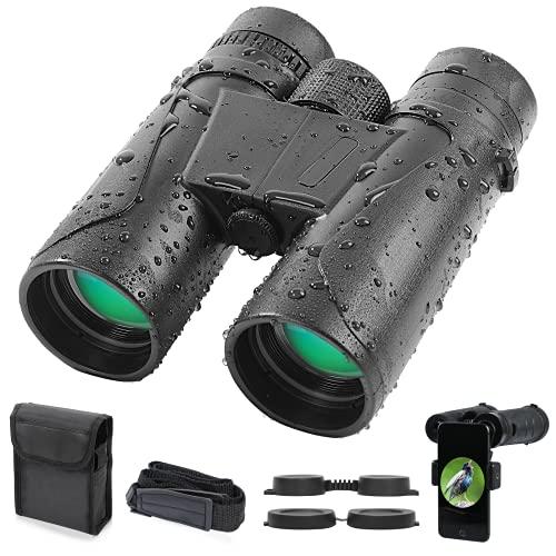 Prismáticos 12x42 HD Vision Nocturna, Binoculares Profesionales de Largo Alcance Impermeable Anti-Niebla Prisma BAK4 Lente FMC para Observación Aves Caza Viajes Conciertos con Adaptador Móvil