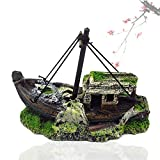 DIII Barco de pesca de resina, barco de naufragio pirata, adorno de acuario de plástico para decoración de plantas para peceras