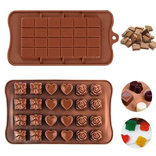 2 PCS Silikon Schokolade Formen,Schokoladenform Silikonbackform, Schokolade Pralinenform Silikon-Schokoladenform,für Schokolade, Kuchen, Gelee, Pudding, handgefertigte Seife
