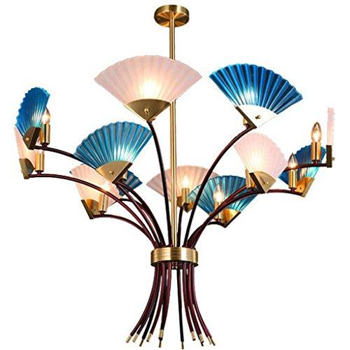 KMMK Novely Candelabros - Candelabro Luz de techo Nuevo estilo chino Decoración creativa Personalidad Arte atmosférico Modelado Vidrio esmerilado Ventilador Iluminación para sala de estar/Dormitori