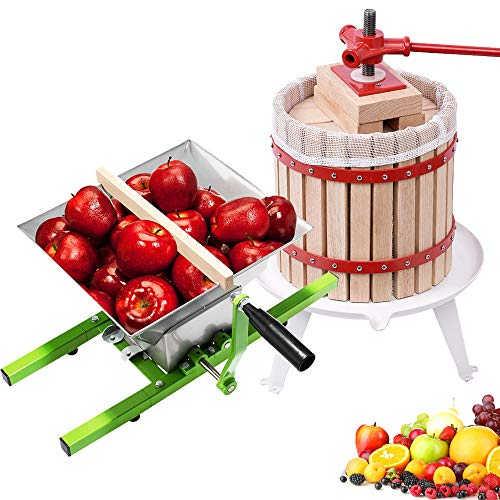 Aufun Obstpresse 12L Fruchtpresse Weinpresse Saftpresse Maischepresse + 7L Obstmühle Edelstahl Traubenmühle Maischemühle mit Handkurbel (12L Obstpresse + 7L Obstmühle)