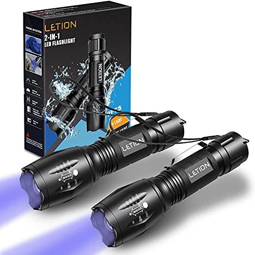LETION 2 in 1 UV Lampe,LED Taschenlampe Schwarzlicht und Weißes Licht Taschenlampe,395nm Ultraviolette Taschenlampe 4 Modi, Detektor für unechte Banknoten, Urin von Hunde, und andere Haustiere