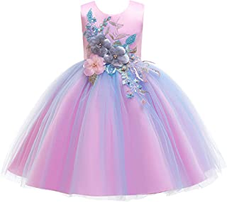Huizhirem Girls Kids Lace A-line Party Wedding Bridesmaid Dresses Sleeveless 3D Flower Tutu Tulle Princess Dresses for 3-12 Years