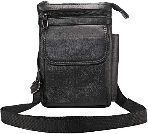 HUIQ Leather Shoulder Bag Men Cell Phone Belt Clip Pouch Leather 7.0 Women Travel Cell Phone Purse Holster Case Leather Belt Waist Pouch Messenger Bag Compatible with iPhone XS 12 Pro Max XR