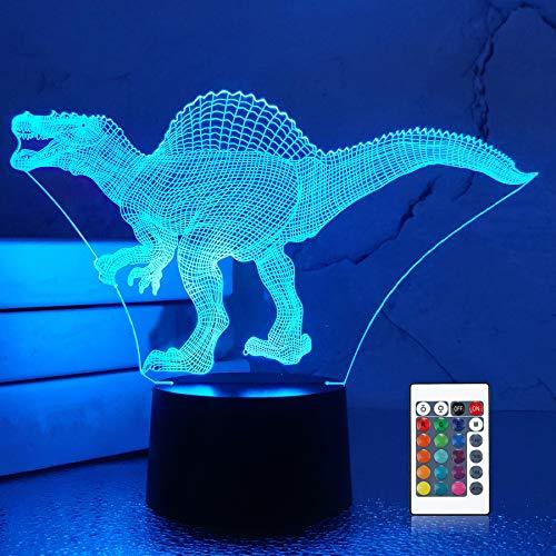 Dinosaur 3d lampada led USB night light home decoration 16 cambia colore con telecomando da tavolo accanto alla lampada per baby kids friend