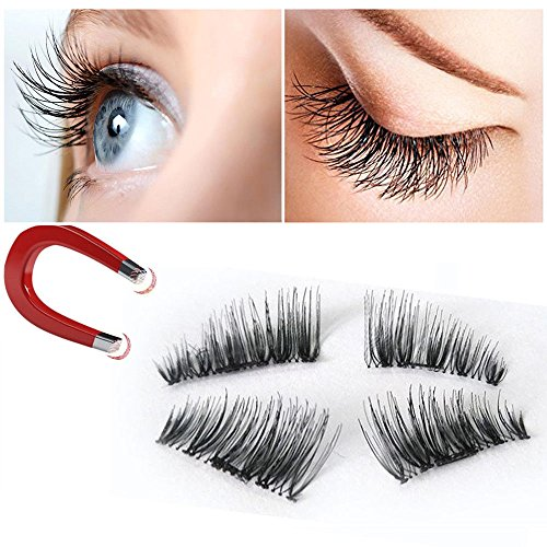 False Magnetic Eyelashes 3D Reusable Fake Eyelashes ,Best Fake eye Lashes Extensions No false eyelashes glue 0.2mm Ultra-thin 3D Fiber for Natural Look 1 Pairs 4 Pieces (4pcs) (2pair-8pcs)