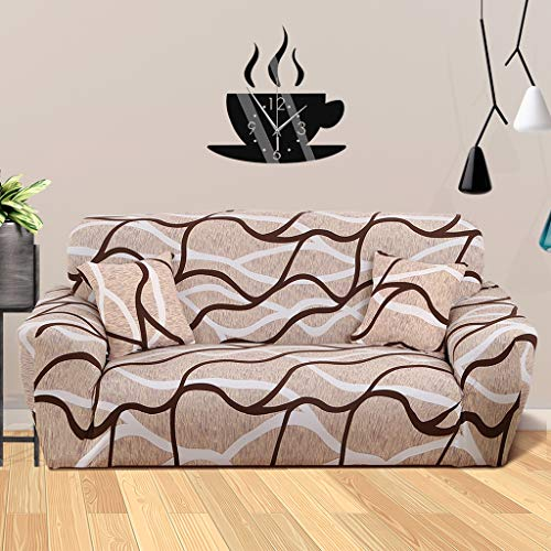 Printed Sofa Cover for 1 Seater Sofa, Stretch Sofa Slipcover with 1 Pillowcase and Anti-Slip Foam, Stylish Pattern Furniture Protector, Soft Spandex Fabric, Machine Washable