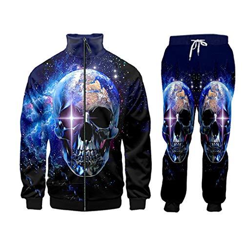 3D Print Men Two Piece Set Starry Skull Hoodie Pants Tracksuit Jacket Sweatsuit Hoodies 5XL CJPA00889 S