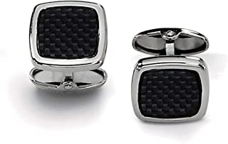 Lex & Lu Chisel Stainless Steel Black Carbon Fiber Cuff Links 15mm