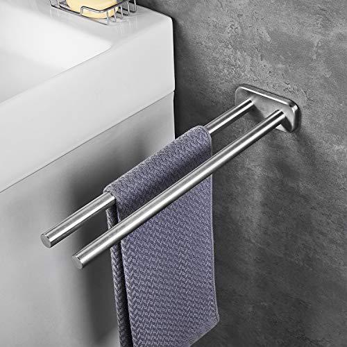 JS Handtuchhalter 40cm Zweiarmig Edelstahl Gebürstet Handtuchstange Wandmontage handtuchhaltern Bad und Küche