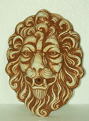 Steinfigur Löwenkopf Rostfarben, Patiniert, Wasserspeier für die Wand, aus Steinguss