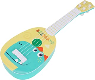 ULTNICE Kids Plastic Guitar 4 String Guitar Toy Dinosaur Pattern Educational Musical Instrument for Children to Play