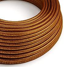 Fil /Électrique Rond Gaine De Tissu De Couleur Coton Tissu Uni Oc/éan RC53-1 m/ètre 2x0.75