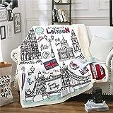 Feelyou Girls Big Ben Sherpa Throw Blanket Chic London Bridge Fleece Blanket Retro UK Theme Plush Blanket for Sofa Couch Cartoon England Telephone Booth Fuzzy Blanket Room Decor Throw 50'x60'