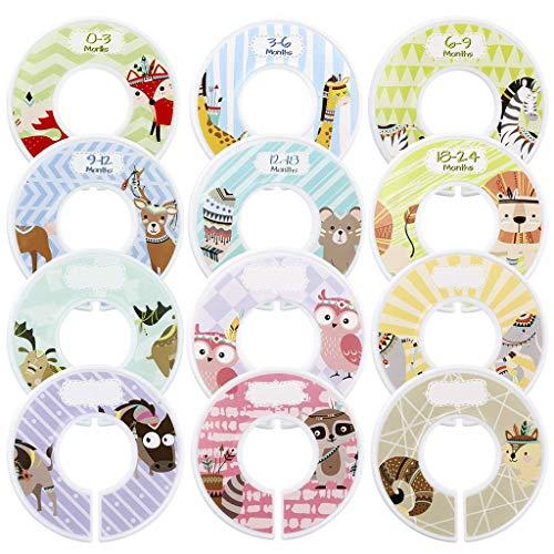 Ouceanwin Baby Kleiderschrank Trenner Set, 12 Stück Kunststoff-Trenner Runde, Tiermotiven Grössentrenner für Organisieren & Ordnen von Neugeborenen Kleinkind Kleidung nach Alter, Größe und Typ