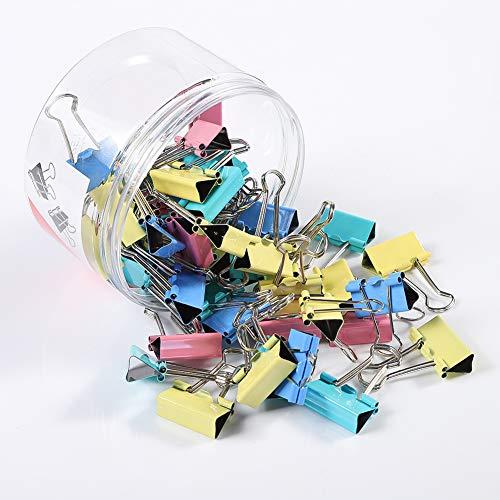 upain Büroklammern Bunt Groß 25mm 48 Stück Foldback Klemmen Papierklammern Blau Gelb Pink Grün Binder Clip für Notizen Briefpapier Clip Bürobedarf Büro Organizer