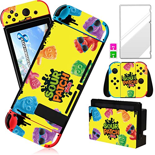 oqpa for Nintendo Switch Skin Cute Kawaii Cartoon Design Sticker, Fun Funny Fashion Cool Switch Game Character Skins for Girls Boys Women Stickers+Tempered Glass Film for Nintendo Switch (Candy Kids)