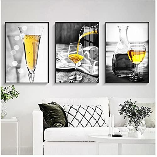 Mural de lienzo, imagen de copa de vino amarilla, pintura al óleo, póster, lienzo moderno, arte, Bar, restaurante, cocina, decoración de pared sin marco