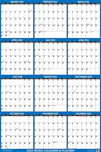 32″ x 48″ SwiftGlimpse 2022 Wall Calendar Erasable Large XL Wet & Dry Erase Laminated 12 Month Annual Yearly Wall Planner, Reversible, Navy