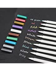 Metallic Markers Painting Pen Set of 10 Colors Calligraphy Pen for Card Making Drawing Lettering Coloring Wine Glass