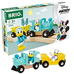 """""""Toot toot!"""", or should that be """"quack quack!"""", the 32260 Donald & Daisy Duck Train has just arrived. This wooden and plastic steam train with retro Disney-themed design is ready to take Donald and Daisy Duck on an exciting railway adventure. A lovel..."""