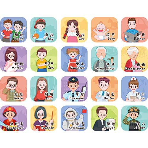 Alfabetización de personajes dibujos animados educación temprana pegatinas de pared iluminación del bebé habitación de los niños decoración de la pared pegatinas de diseño de jardín de infantes 50x70