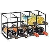 mDesign Juego de 2 botelleros metálicos – Estante para vino de diseño atractivo – Botellero de acero inoxidable con capacidad para 8 botellas de vino u otras bebidas – negro mate
