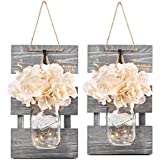 HABOM Rustic Mason Jar Wall Decor Sconces -...