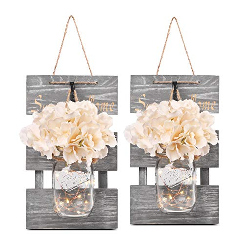 Besuerte Rustic Lighted Mason Jars for Farmhouse,Home Decor,Living Room, Bathroom, Hanging...