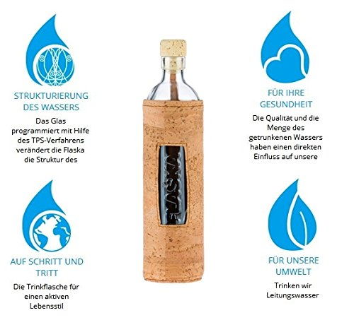 Design Natural Cork 0,5 Liter - Flaska Trinkflasche Glasflasche + 2 Korken